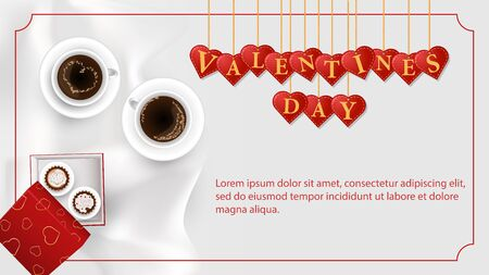 banner inscription Valentines day written in hearts that hang on strings cupcakes in a box coffee Cup frame on a white background fabric top view vector EPS 10  イラスト・ベクター素材