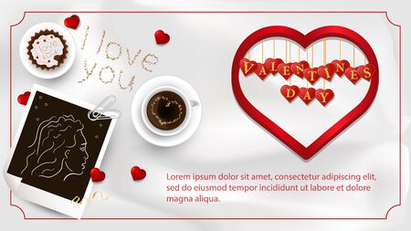 banner inscription Valentines day written in hearts that hang on strings coffee Cup girl photo for design on white background fabric top view vector EPS 10 Çizim