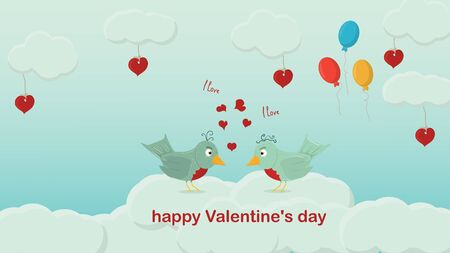 happy Valentines day two birds stand in front of each other a Declaration of love on the clouds a festive background for a flat style design