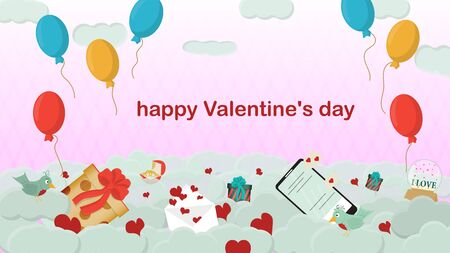 happy Valentines day gift box mobile phone with chat envelope and bird lie on clouds in the sky holiday banner pink background for flat design decoration space for text