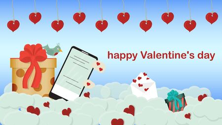 happy Valentines day gift box mobile phone with chat and bird lie on clouds in the sky holiday banner background for flat style design decoration place for text vector EPS 10