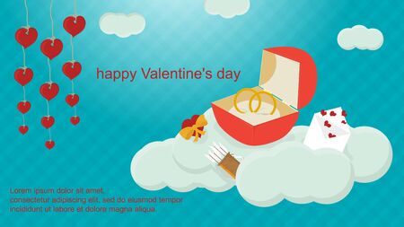 happy Valentines day wedding ring box stands on clouds holiday banner background for flat design decoration space for text EPS 10