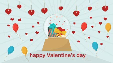 happy Valentines day glass ball with gift and heart inside festive background for flat design decoration vector EPS 10