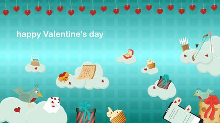 happy Valentines day gift box mobile phone with chat envelope bow and arrows lie on the clouds in the sky festive banner blue background for flat design decoration Çizim