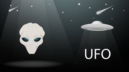flying saucer UFO alien head on the background of night sky with comets and stars banner design on a black background vector EPS 10 Illustration