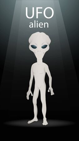 vertical banner alien stands on a dark black background in a circle of light for the design