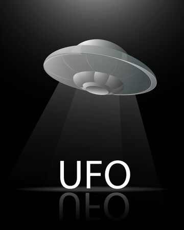 illustration banner flying saucer UFO on a dark black background shines a beam of light on the inscription with a reflection for the design vector EPS 10