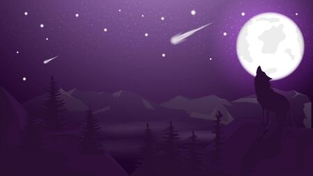 banner illustration background night landscape wolf howling at the moon in the mountains starry sky comet for decoration design vector EPS 10