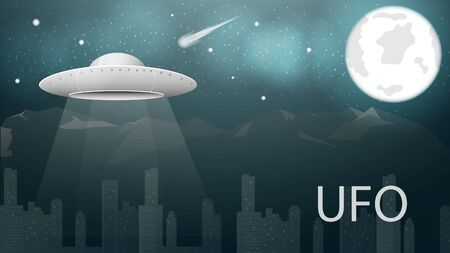 flying saucer UFO hovered over the city in the background of the mountain among the starry sky and the moon at night vector EPS 10