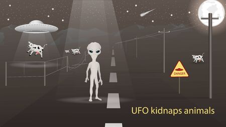 flying saucer UFO kidnap in the field animal cow beam of light alien standing on the road banner design in dark gray background vector EPS 10
