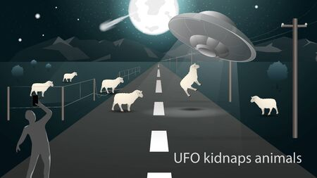 flying saucer UFO kidnap in the field animal sheep beam of light on the road and the man takes it on the phone banner design in dark gray background vector EPS 10