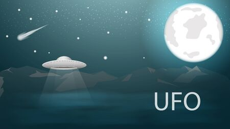 flying saucer UFO flying high in the mountains above the clouds in the starry sky at night Illustration