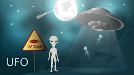 illustration background banner flying saucer UFO flies away from the planet taking with them aliens beam of light at night in the mountains in the background moon stars comet vector EPS 10
