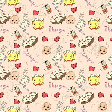 seamless pattern background of colorful stickers icons in Doodle style theme is festive food gifts home appliances kawaii background is isolated for decoration design vector