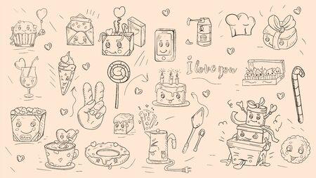 ensemble d'icônes d'autocollants de contour dans le thème de style Doodle est des cadeaux alimentaires festifs appareils ménagers fond kawaii est isolé pour le vecteur de conception de décoration EPS 10