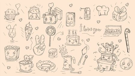 set of outline stickers icons in Doodle style theme is festive food gifts home appliances kawaii background is isolated for decoration design vector EPS 10