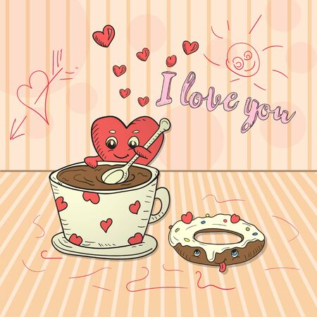 childrens illustration in the style of kawaii Doodle a small heart interferes with a spoon tea with coffee next to a delicious doughnut heart and the inscription I love vector EPS 10 Çizim