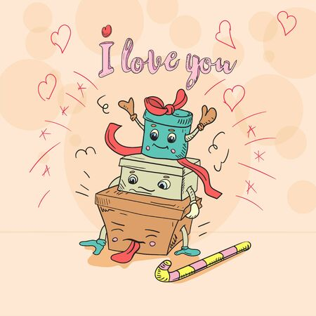 childrens Doodle style illustration three kawaii gift boxes stand on top of each other with the words I love vector EPS 10