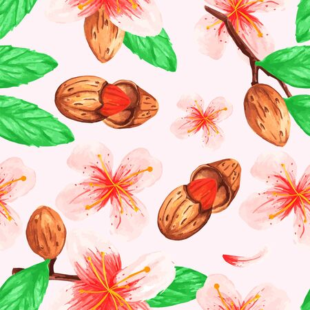 watercolor seamless plant pattern branches nuts almonds for decoration design flowers leaves background isolated vector Ilustração