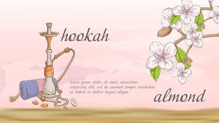 banner hookah with pillow nature plant almond branch fruit nuts flowers for decoration design on the background of mountains in the desert with clouds with a place for text and name vector Ilustração