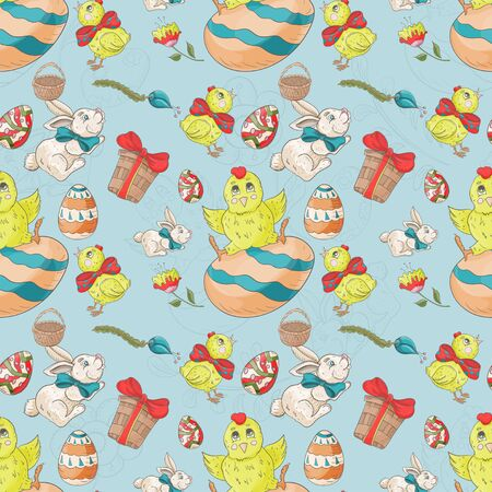 holiday Easter seamless illustration painted eggs chickens rabbit pattern contour color drawing Doodle style for decoration design background isolated vector