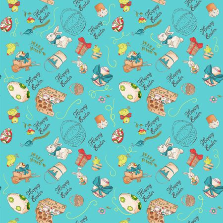 holiday Easter seamless illustration pattern contour color drawing greeting inscription rabbits chickens eggs wheelbarrow cake in the style of Doodle for decoration design background isolated vector Çizim