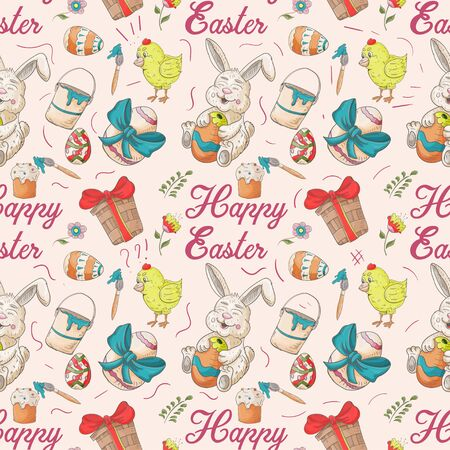 holiday Easter seamless illustration pattern contour color drawing eggs chickens rabbit style Doodle for decoration design background isolated vector