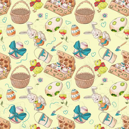 holiday Easter seamless illustration pattern contour color drawing box with eggs rabbits chickens Doodle style for decoration design background isolated vector Çizim
