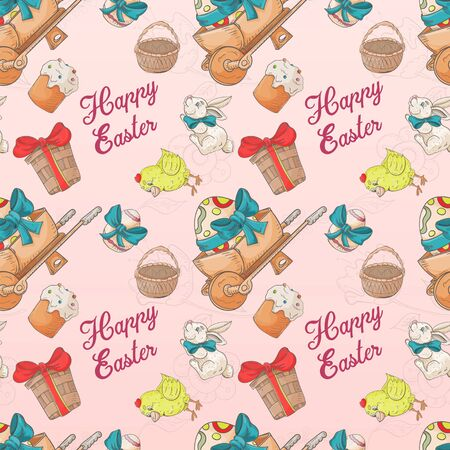 holiday Easter seamless illustration painted eggs wheelbarrow rabbit pattern contour color drawing Doodle style for decoration design background isolated vector