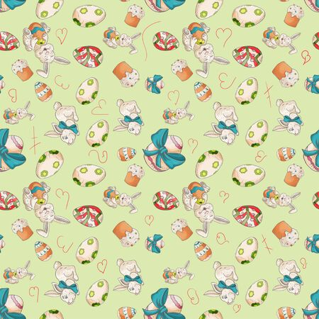 holiday Easter seamless illustration pattern contour color drawing rabbits and eggs Doodle style for decoration design green background isolated vector Çizim