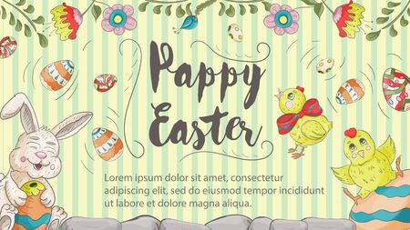 Easter banner with text for greetings, in the style of childrens Doodle, a rabbit holding a chicken egg at the top flowers and the inscription congratulations vector EPS 10 Ilustração