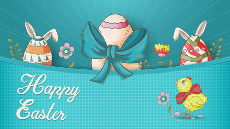 Easter banner, in the style of children's Doodle, eggs in the pocket among the flowers, a chicken looks at the top and the inscription congratulations vector EPS 10 Stock Vector - 137503259