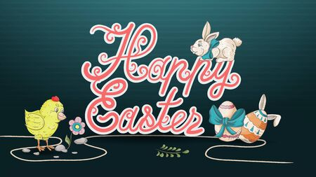 Easter banner, in the style of childrens Doodle, large inscription greetings on a dark blue background, eggs, rabbit, chicken with a flower vector EPS 10