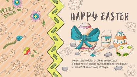 Easter banner with text for greetings, in the style of childrens Doodle, with a red background, painted egg with a bow, a brush with a bucket of paint and the inscription congratulations vector EPS 10 Ilustração
