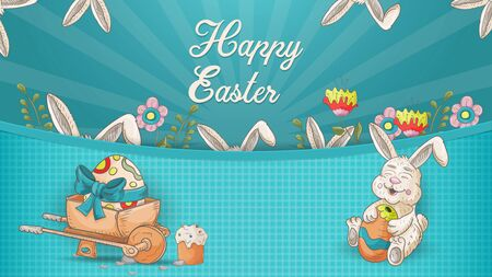 Easter banner, in the style of childrens Doodle, wheelbarrow with egg rabbit, and many ears inscription greeting vector EPS 10