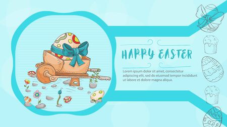 Easter banner with text for congratulations, in the style of childrens Doodle, wheelbarrow with an egg among the flowers and the inscription congratulations vector EPS 10 Ilustração