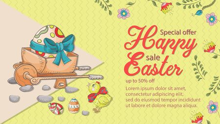 Easter banner, discount up to fifty percent, special offer, wheelbarrow, chicken, colored egg place for text, in the style of childrens Doodle illustration vector EPS 10 Ilustração