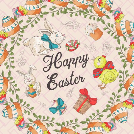 Easter holiday square banner, sticker, rabbits chicken, cake, box, colored egg, greeting message in a circle in the style of childrens Doodle vector EPS 10