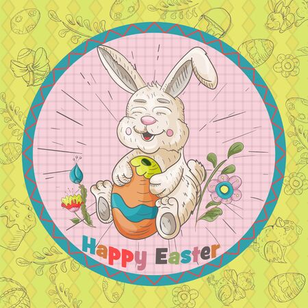 Easter holiday square banner, sticker, rabbit hugs a painted egg, greeting message in a circle in the style of childrens Doodle vector EPS 10