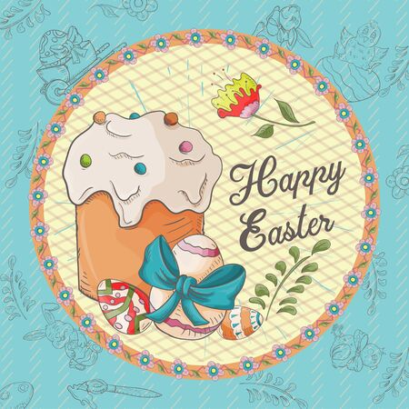 Easter holiday square banner, sticker, cake baking and colored eggs, greeting inscription in a circle in the style of childrens Doodle vector EPS 10 Ilustração