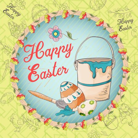 Easter holiday square banner, sticker, bucket brush and painted egg, greeting message in a circle in the style of childrens Doodle vector EPS 10
