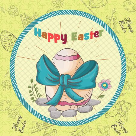 Easter holiday square banner, sticker, colored egg with a bow inscription greeting in a circle in the style of childrens Doodle vector EPS 10