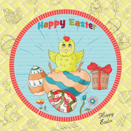 Easter holiday square banner, sticker, little chicken sitting on a painted egg, greeting message in a circle in the style of childrens Doodle vector EPS 10