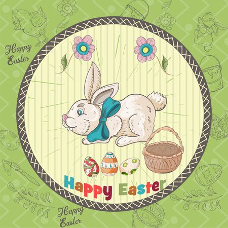 Easter holiday square banner, sticker, a small rabbit with a bow next to the basket and eggs, the inscription congratulations in a circle in the style of childrens Doodle vector EPS 10