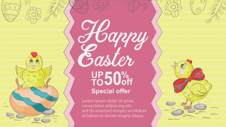 Easter banner, up to fifty percent discount, special offer, chicken eggs, space for text, childrens Doodle illustration style, for design decoration vector EPS 10