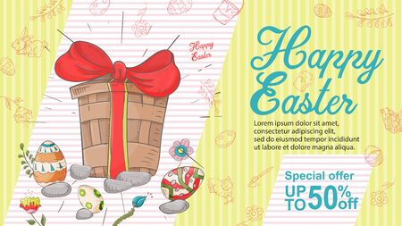 Easter banner, discount up to fifty percent, special offer, box with a bow among colored eggs, stones, in the style of childrens Doodle illustration, for design design vector EPS 10