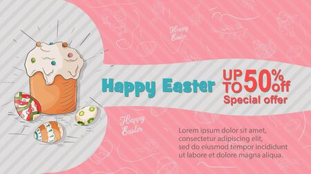 Easter banner, discount up to fifty percent, special offer, cake and painted eggs, space for text, in the style of childrens Doodle illustration, for design design vector EPS 10