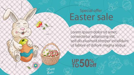 Easter banner, discount up to fifty percent, special offer, rabbit holding a painted egg next to a basket, in the style of a childrens Doodle illustration, for design design vector EPS 10