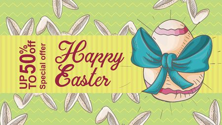 Easter banner, up to fifty percent discount, special offer, lots of rabbit ears colored egg with a bow, in the style of childrens Doodle illustration, for design decoration vector EPS 10
