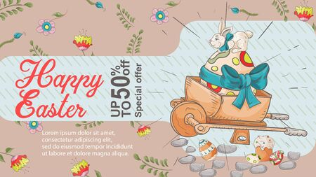 Easter banner, up to fifty percent discount, special offer, dot with painted egg bow and rabbit, in the style of childrens Doodle illustration, for design decoration vector EPS 10